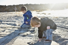 Playing in the sand at the beach